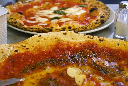 Pizza Marinara and Pizza Margherita in Naples Italy