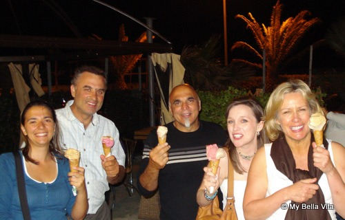 Il Cedro B&B guests enjoying gelato at Catanzaro Lido