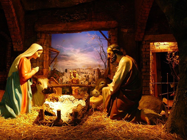 Mary and Joseph waiting for the arrival of Baby Jesus